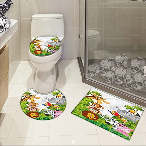 Nursery 3 Piece Toilet mat set Cartoon Style Zoo Animals Safari Jungle Mascots Collection Tropical Forest Wildlife Printed Multicolor