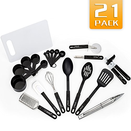 Kitchen Utensils Set - 21 Stainless Steel and Nylon Cooking Utensils Set - Nylon Utensils Spatula Set - Non-stick Heat Resistant Kitchen Cooking Utensils Cookware Set - Best Kitchen Tools and Gadgets