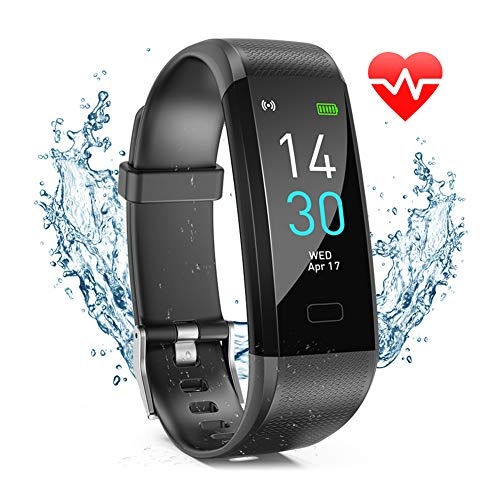 EDUP HOME Fitness Tracker HR, Activity Tracker Watch with Heart Rate Monitor, IP68 Waterproof Smart Fitness Band with Step Counter, Calorie Counter, Pedometer Watch Black for Kids Women and Men