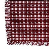 70 x 120 (Rectangle) Homespun Tablecloth, Hand Loomed, 100% Cotton, Cranberry/White