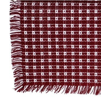70 x 120 (Rectangle) Homespun Tablecloth, Hand Loomed, 100% Cotton, Cranberry/White by Mountain Laurel Mercantile
