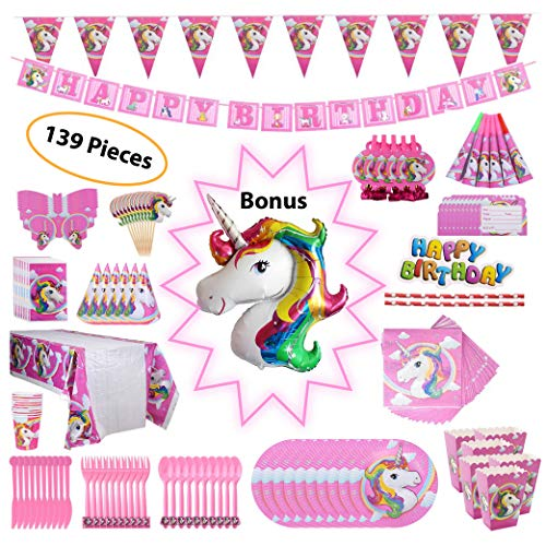 (Unicorn Party Supplies Set – Birthday Party Kit of Unicorn Party Decorations – Tableware, Happy Birthday Banners, Unicorn Balloon, Cake & Cupcake Toppers, Favor Bags, Party Hats, 139 Pcs Serves)