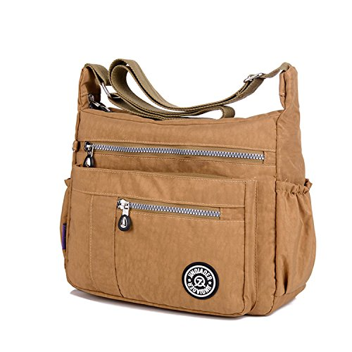 Travel Shoulder Women Sport Waterproof Messenger for Body Ladies Bookbags Bag Lightweight MeCooler Bag Satchel Casual Beige Cross Bag q5Stnvx