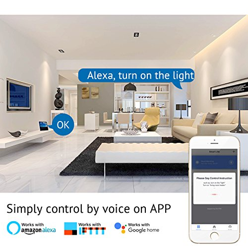 HUGOAI WiFi Smart Outlet, Mini Smart Plug 4 Pack, Works with Alexa & Google Home/IFTTT, APP Remote Control from Anywhere, No Hub Required, WiFi Enabled Voice Control Smart Socket by HUGOAI (Image #2)