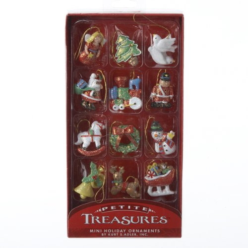 Victorian Christmas Tree Decorations - Kurt Adler 12-Piece Resin Petite Treasures Ornament Set, Mini