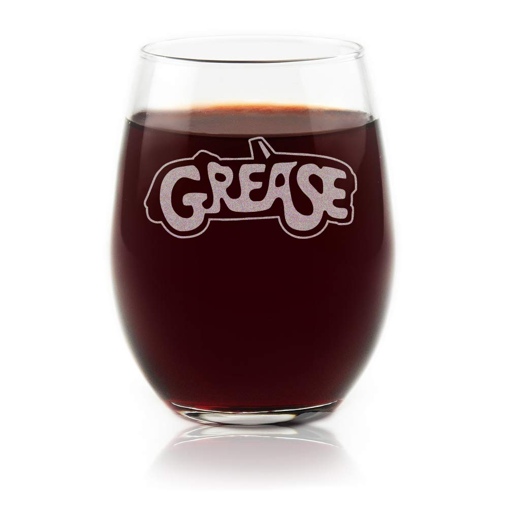 Movies On Glass - Grease Movie Musical Engraved Logo Stemless Wine Glass