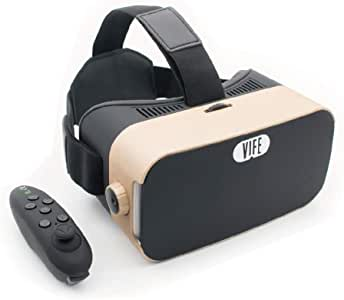 VIFE, Virtual Reality Headset ,3D VR Glasses for Mobile Games and Video & Movie,Compatible 3.5-6 inch iPhone/Android Phone,Including iPhone,Samsung, LG,etc (Golden/Black Remote)