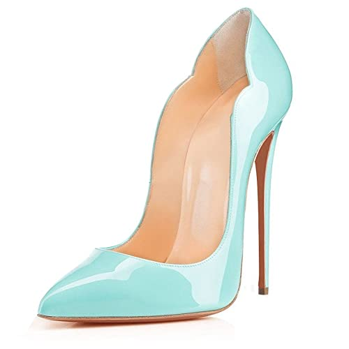 0f17650821ea93 EDEFS Damen Pointed Toe Pumps Slip On High Heels Elegant Stiletto Schuhe  Blau Größe EU35