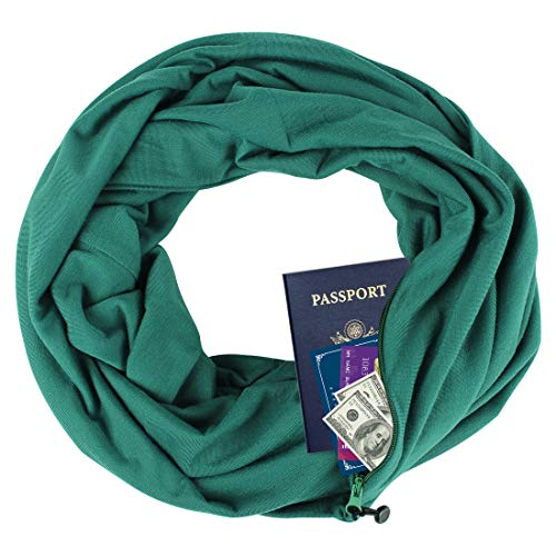 Zipper Pocketed Travel Scarf,Infinity Scarf with Pocket (Deep Green) (Stars Infinity Scarves)