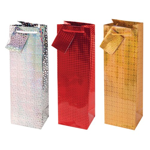 Cakewalk Sparkling Trio Assortment Single Bottle Paper Wine Bags, Silver/Red/Gold