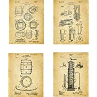 Whiskey Patent Wall Art Prints - set of Four (8x10) Unframed - wall art decor for whiskey drinkers
