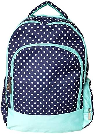 Custom Embroidered Fashion Print Reinforced Design Water Resistant Backpack Navy Dots – Embroidered Name