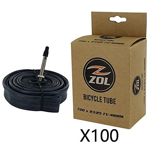 Zol Road Bicycle Bike Inner Tube 700x23/25C Presta/French 48mm Valve (Box 100 PCS)