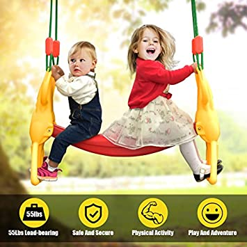 Costzon Rider Swing with Hangers, Wind Rider Glider Swing for Kids Playground Back to Back Rider Swing for 2 Kids