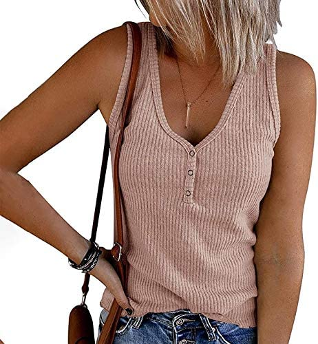 VEKDONE Summer Tank Tops for Women Waffle Knit Tunic Tops V Neck Henley Sleeveless Button Up Shirts Loose Blouses Vests