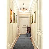 Custom Size Hallway Runner Rug, Slip Resistant, 26 Inch Wide X Your Choice of Lenght, Solid Dark Grey, 26 Inch X 6 feet