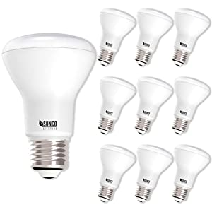 Sunco Lighting 10 Pack BR20 LED Bulb, 7W=50W, Dimmable, 3000K Warm White, E26 base, Flood Light for Home or Office Space - UL & Energy Star