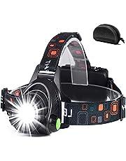 Led-hoofdlamp, oplaadbaar via USB, hoofdlamp, hoofdlamp met 3 lichtmodi, 90 graden instelbaar, waterdicht, zoombaar, hoofdlamp voor wandelen, vissen, kamperen, werken, autoreparatie