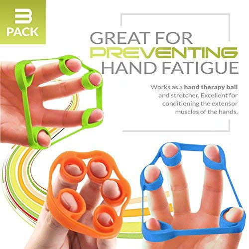 Finger Stretcher,GM5SMART Hand Resistance Bands Hand Extensor Exerciser Finger Grip Strengthener Strength Trainer Gripper set for Arthritis Carpal Tunnel Exercise Guitar and Fitness Rock Climbing (3)