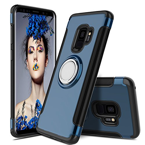 Innens Galaxy S9 Case, Samsung Galaxy S9 Phone Case, Shock-Absorption Anti-scratch Slim Protective Cover Case with Ring Bracket Kickstand for Galaxy S9 2018 / G960U / G960F (Navy Blue) - Kickstand Bracket
