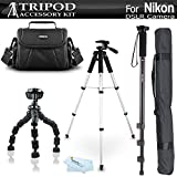 Tripod Bundle Kit For Nikon Df, D5200, D3300, D5300 D3200 D3100 D5100 D700 D7000 D90 D800 D800E D610 DSLR Camera and Blackmagic Pocket Cinema Camera Includes 57'' Tripod + 67'' Monopod + Case + More