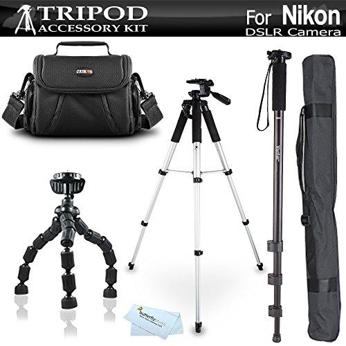 Tripod Bundle Kit For Nikon Df, D5200, D3300, D5300 D3200 D3100 D5100 D700 D7000 D90 D800 D800E D610 DSLR Camera and Blackmagic Pocket Cinema Camera Includes 57