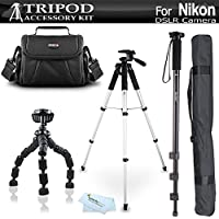 Tripod Bundle Kit For Nikon Df, D5200, D3300, D5300 D3200 D3100 D5100 D700 D7000 D90 D800 D800E D610 DSLR Camera and Blackmagic Pocket Cinema Camera Includes 57 Tripod + 67 Monopod + Case + More