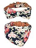Gyapet Collar for Cat Small Dog Bandana Bowtie Puppy Kitten 2 Packs Adjustable Scarf Cute Camo Flower-Blue