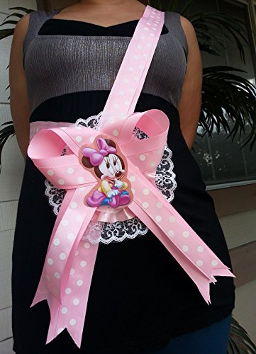 Baby Shower Mom To Be Minnie Mouse It's a Girl Sash Pink Polka Ribbon & Corsage -