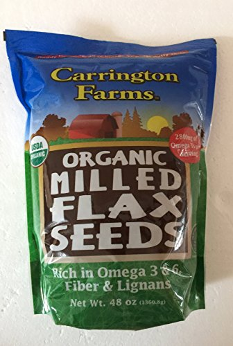 Carrington Farms Certified Organic Milled Flax Seeds - No cholesterol - Cold-Milled Processed - 48 Ounce - 3 lbs by Carrington Farms