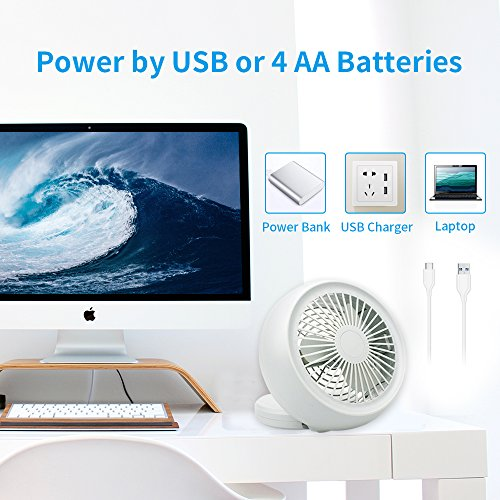 Mini USB Fan, Throne 6 Portable Desk Fan w/USB and Battery Dual Power Supply, Angle Adjustable and Low Noise, Silent Cooling Fan for Home, Office with Powerful Airflow (White) by Wolfarya (Image #3)