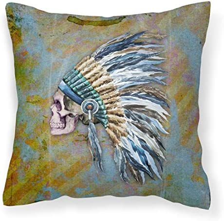 Caroline's Treasures BB5128PW1414 Day of The Dead Indian Chief Skull Fabric Decorative Pillow