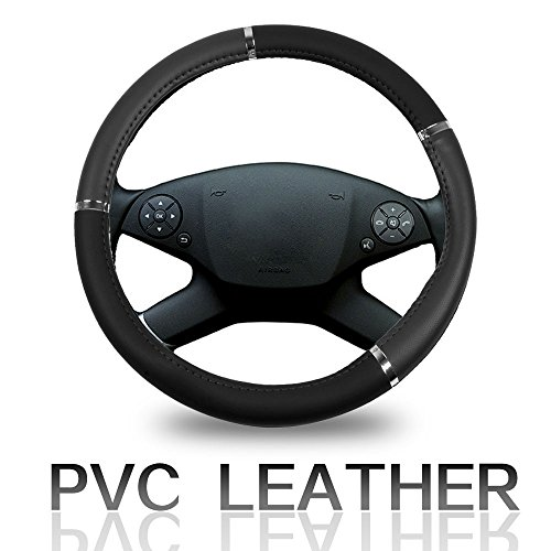 Cover 15 Inch Universal Leather - Grey with Silver Grip Steering Wheel Cover ()