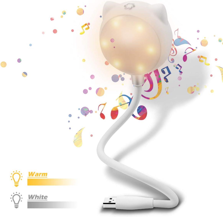 ELEGIANT Mini LED Luz USB con Altavoz Bluetooth, Lámpara para Lectura Leer Libros Kindle Trabajar Estudiar con Ordenador Portátil Música iPhone PC Oficina Casa Divertir para Viajes Blanco
