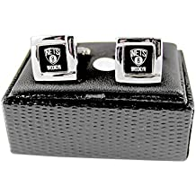 NBA Brooklyn Nets Square Cufflinks with Square Shape Engraved Logo Design Gift Box Set