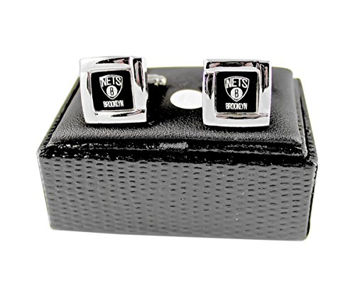 NBA Brooklyn Nets Square Cufflinks with Square Shape Logo Design Gift Box Set by aminco