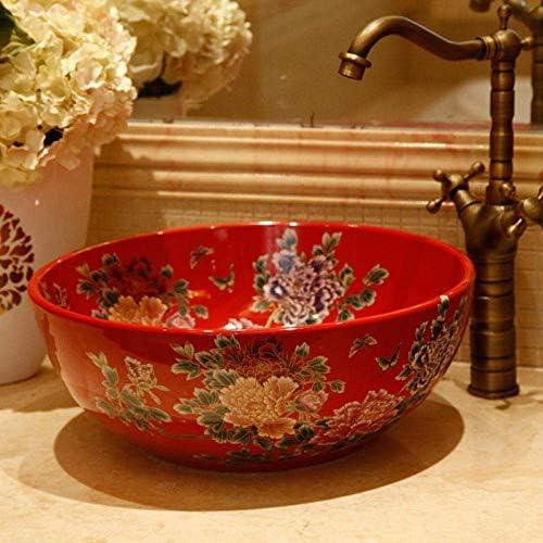 樹脂洗面台天然石楕円型凹型中国の洗面台花形セラミック洗面台アート盆地ゴールデンロータス浴室シンクボウル