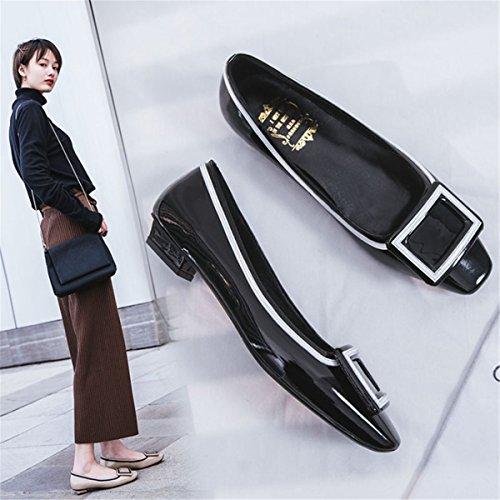 Único Mujer Moda Black Snap Zapatillas Zapatos Metal Solo Mujeres De jefe Sandalias qatTz