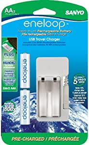 eneloop AA with USB Charger, 1800 cycle, Ni-MH Pre-Charged Rechargeable Batteries, 2 Pack (Discontinued by Manufacturer)