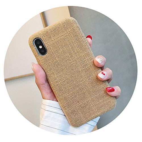 Aberdeen Fabric - Couple Soft Fabric Texture Case for iPhone 7 Case for iPhone 6 6S 7 8 Plus X Xs X Max XR Slim Pattern Grid Phone Cases,C51-MaBkhaki,for iPhone Xs