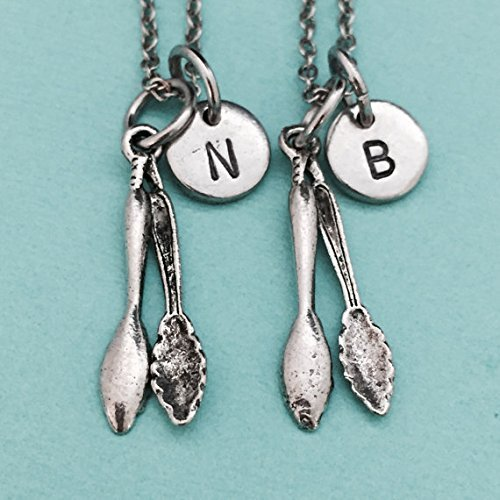 (Best friend necklace, tongs necklace, utensils necklace, bff necklace, sister, friendship jewelry, personalized, initial, monogram)
