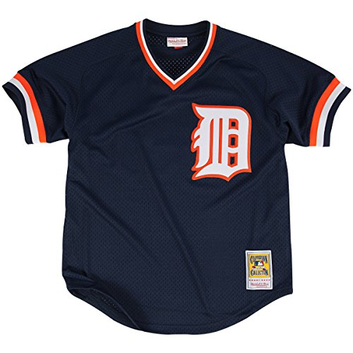 MLB Mitchell& Ness Kirk Gibson Detroit Tigers 1984 Authentic Throwback Mesh Batting Practice Jersey - Navy Blue (XX-Large) - Tigers Navy Blue Mesh