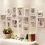 ALUS- 19 Multi Photo Frames Set European Style Wooden Carved Photo Frame Blue and White Personality Bedroom Study Living Room Wall Combination Photo Frame (Color : White)