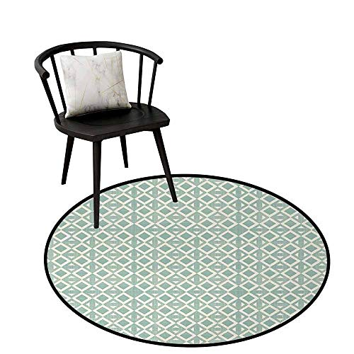 Polyester Round Rug Abstract Soft to The Touch Triangles and Rhombuses Retro Style Arrangement Geometric Composition Seafoam and Off White D16(40cm)