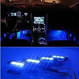 Racksoy 4 x 3 blaue LEDs Auto Dekor Licht Innenbeleuchtung Neon Boden Leuchte Dekoration unter Armaturenbrett Lampe Atmosphäre Lampe für Auto DC 12V