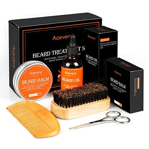 Beard Grooming & Trimming Kit, Acevery Beard Care Treatment Gift Set for Men- 100 percent Natural Unscented Beard Oil, Beard Brush, Beard Comb, Mustache & Beard Balm, Beard Scissor