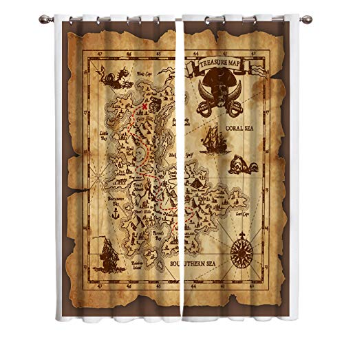 Window Curtains Pirates of The Caribbean Treasure Map Digital Printed Thermal Insulated Window Drapes for Bedroom Living Room Dining Room Kids Youth Room 2 Panel Set - Of Caribbean Treasure Map The Pirates