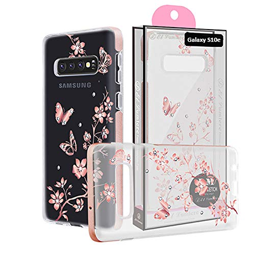 [ El Lumiere Lumi Sketch Case for Samsung Galaxy S10e ] Soft Flexible TPU [Lightweight Ultra Thin Shell] Non-Stick TPU [Glossy Finish Back Cover] (LS-Butterfly Flower)