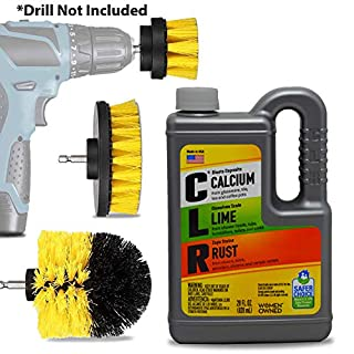 CLR Bathroom Lime And Rust Away Cleaner Kit: 1 28 Oz CLR Calcium Limescale And Rust Remover Cleaning Supplies, Complete Drill Bit Brush Power Scrubber Attachment Set.