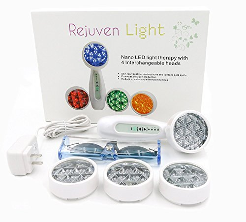 Lift Care Rejuven Light LED Light Therapy with 4 Interchangeable Heads Anti-Aging Device, Skin Rejuvenation, Lightens Dark Spots, Promotes Collagen and Reduce Wrinkles and Fine (Anti Aging Skin Therapy)